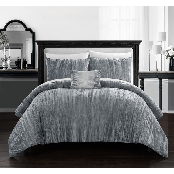 Chic Home Kerk 4 Piece Comforter Set Crinkle Crushed Velvet Bedding. Opens flyout.