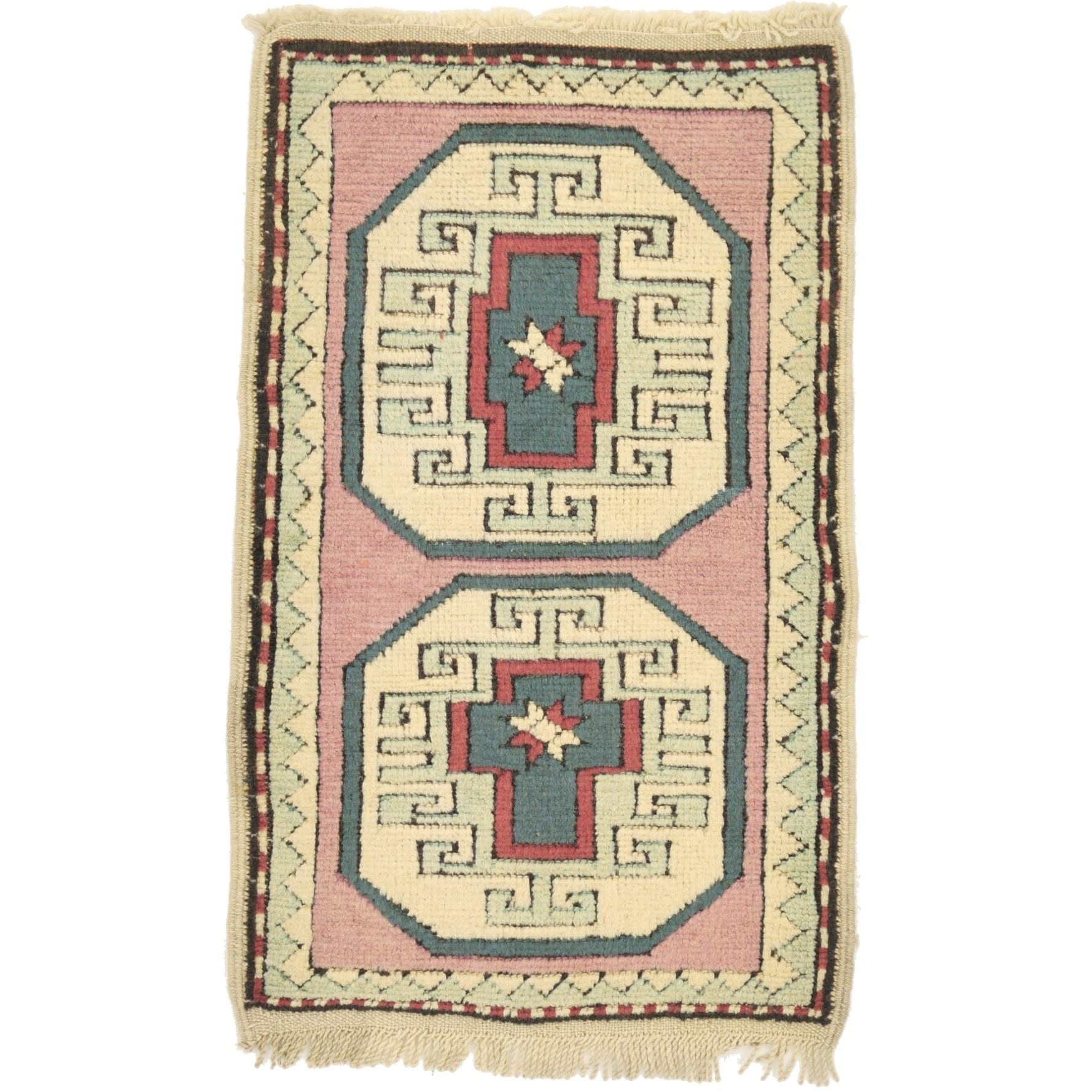 Hand Knotted Kars Wool Area Rug - 1' 10 x 3' (puce - 1' 10 x 3')