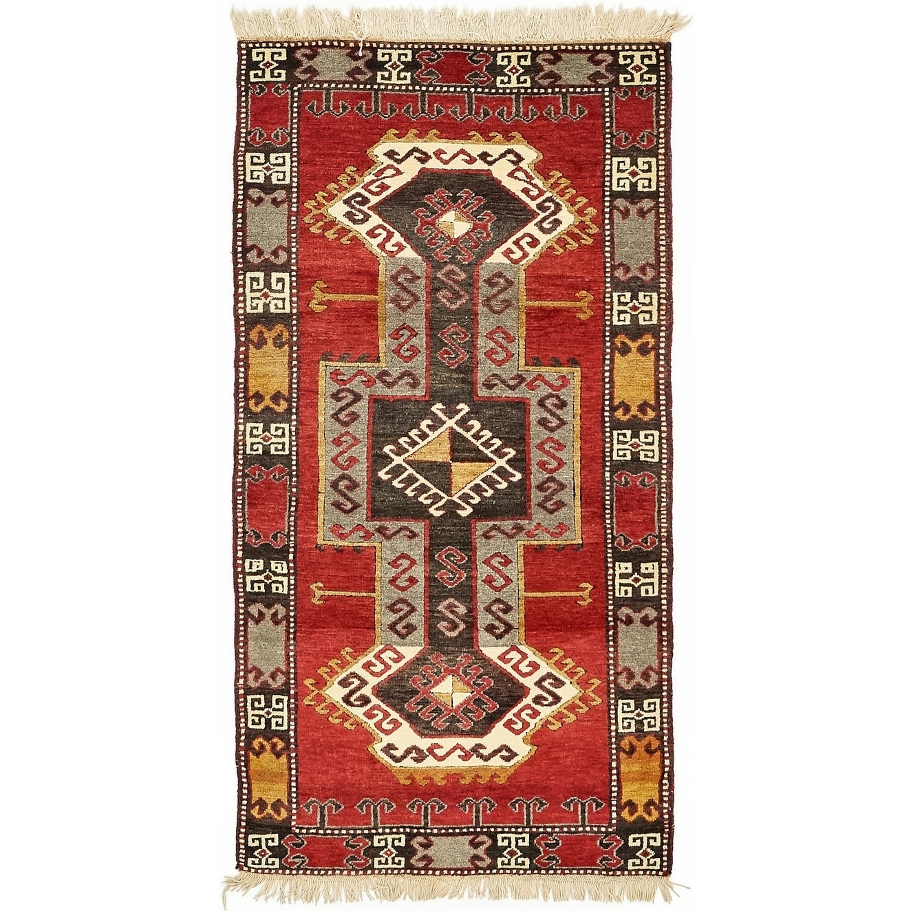 Hand Knotted Kars Wool Area Rug - 3' 3 x 6' 5 (Black - 3' 3 x 6' 5)