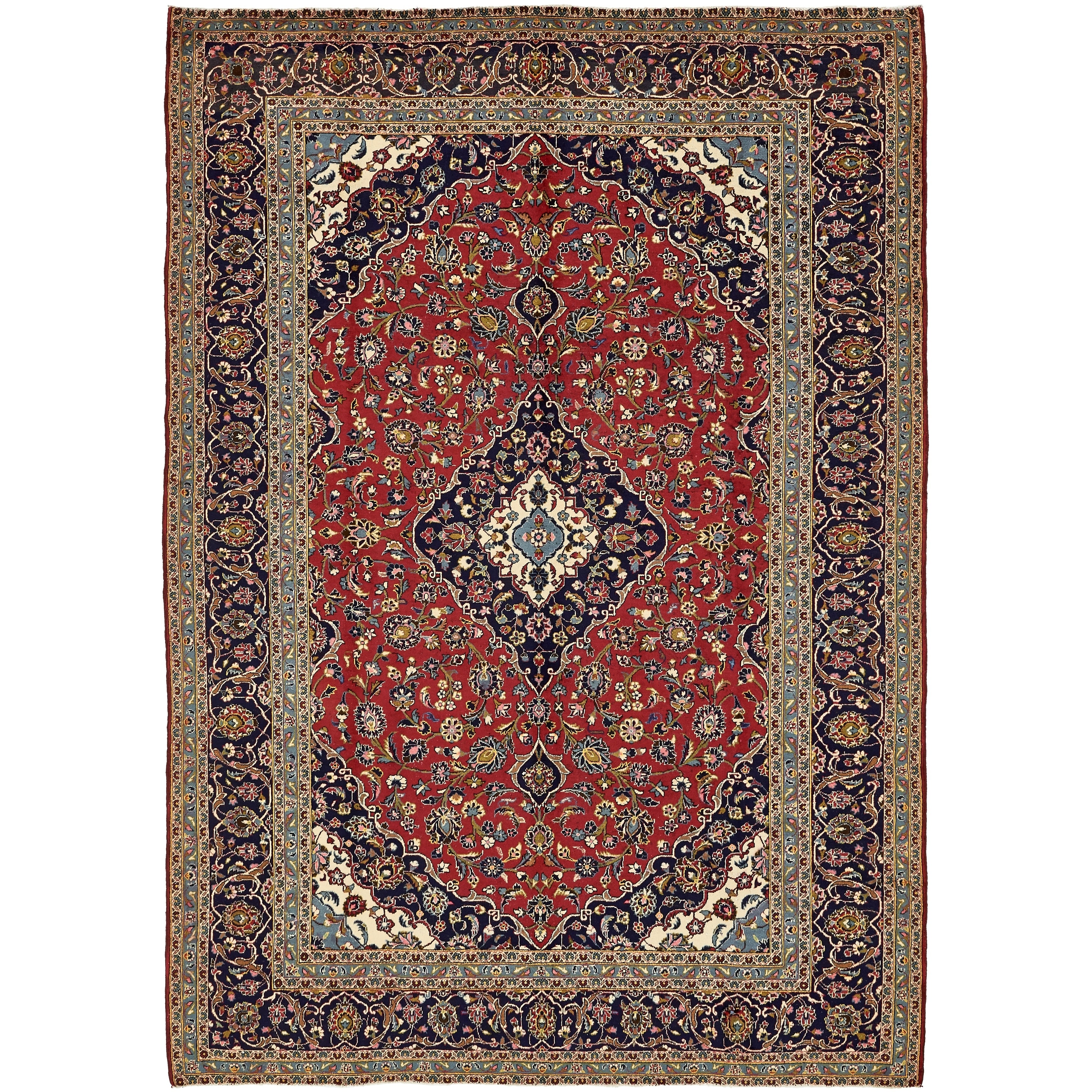 Hand Knotted Kashan Semi Antique Wool Area Rug - 9' 6 x 13' 4 (Red - 9' 6 x 13' 4)