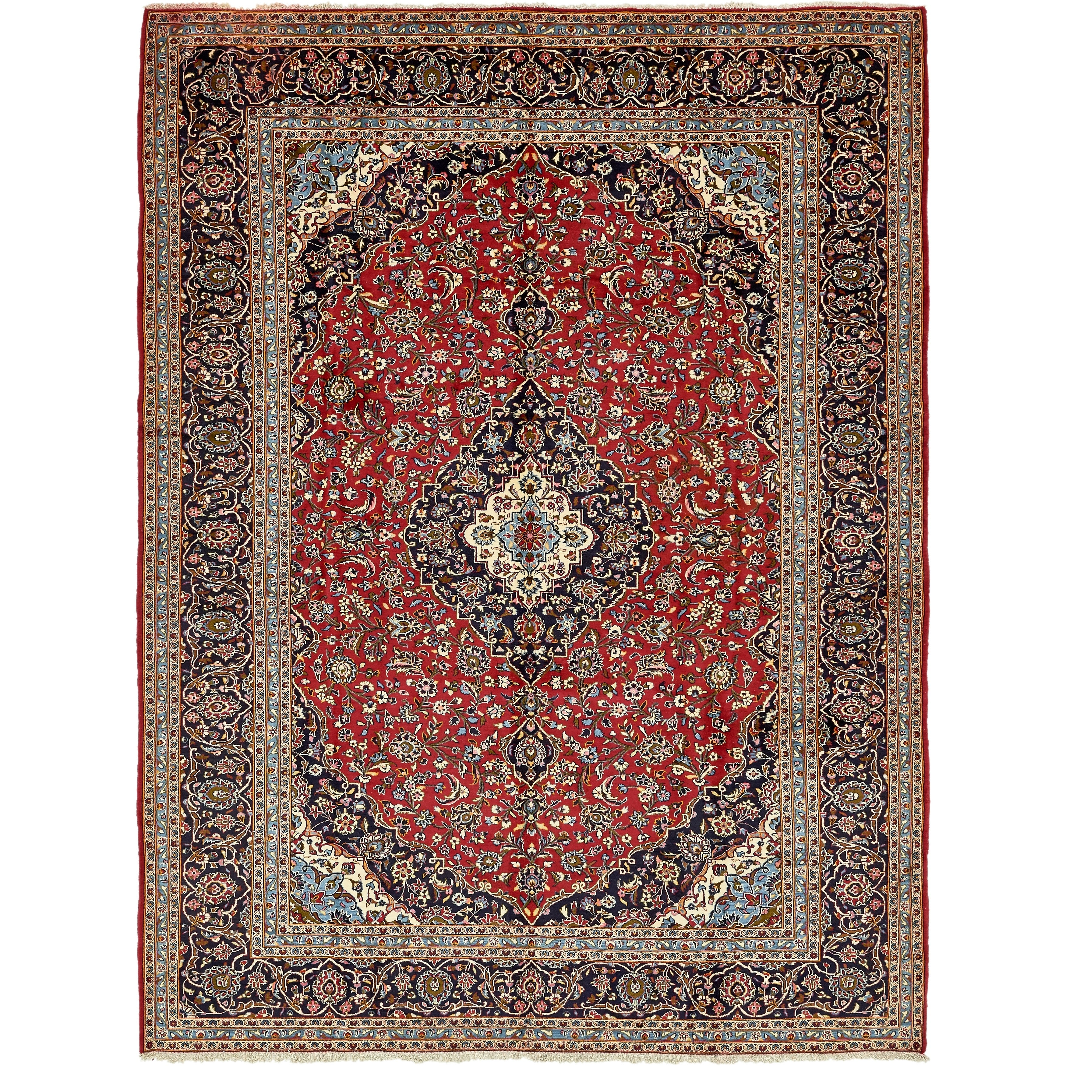 Hand Knotted Kashan Semi Antique Wool Area Rug - 9' 8 x 13' 4 (Red - 9' 8 x 13' 4)