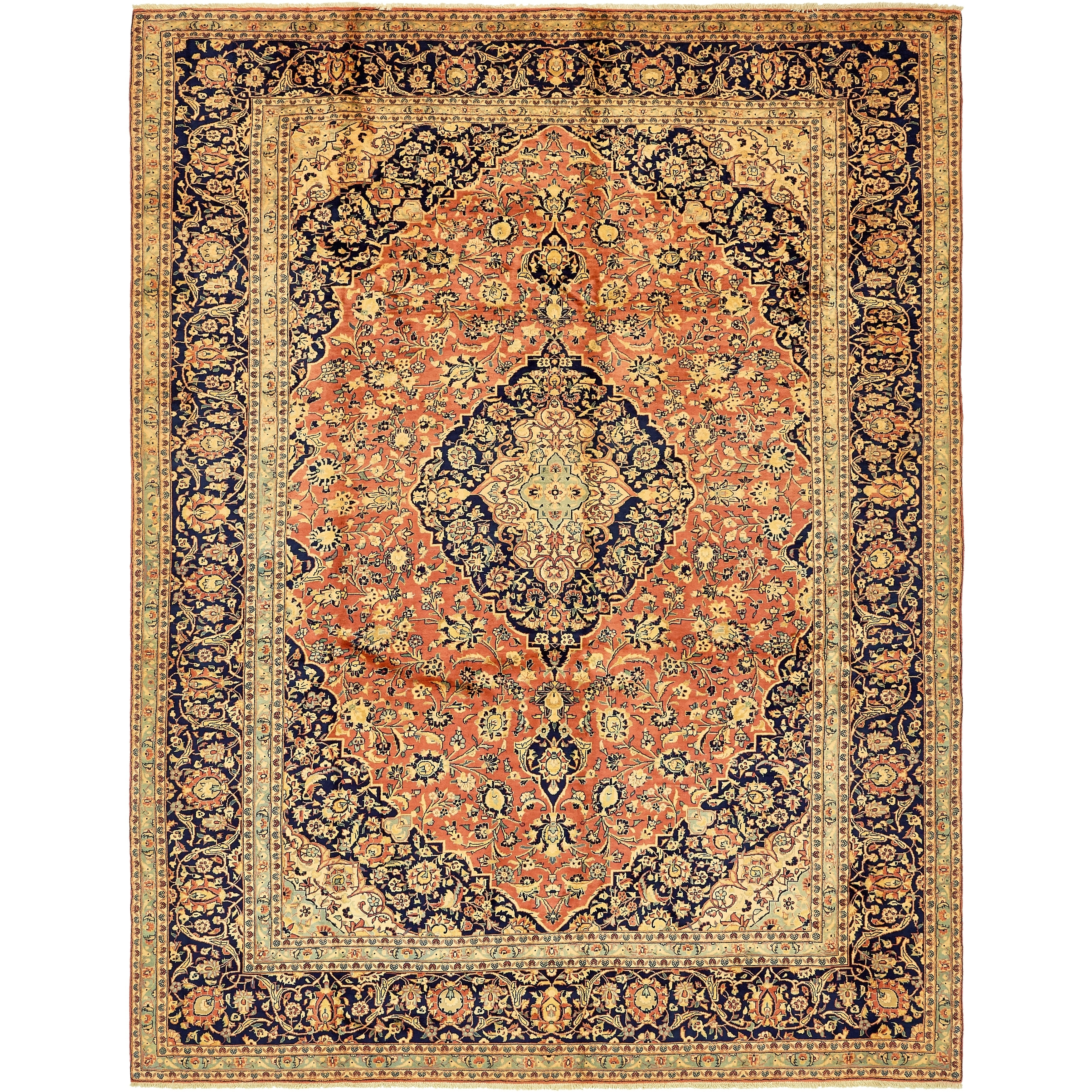 Hand Knotted Kashan Semi Antique Wool Area Rug - 9' 8 x 12' 9 (Pink - 9' 8 x 12' 9)