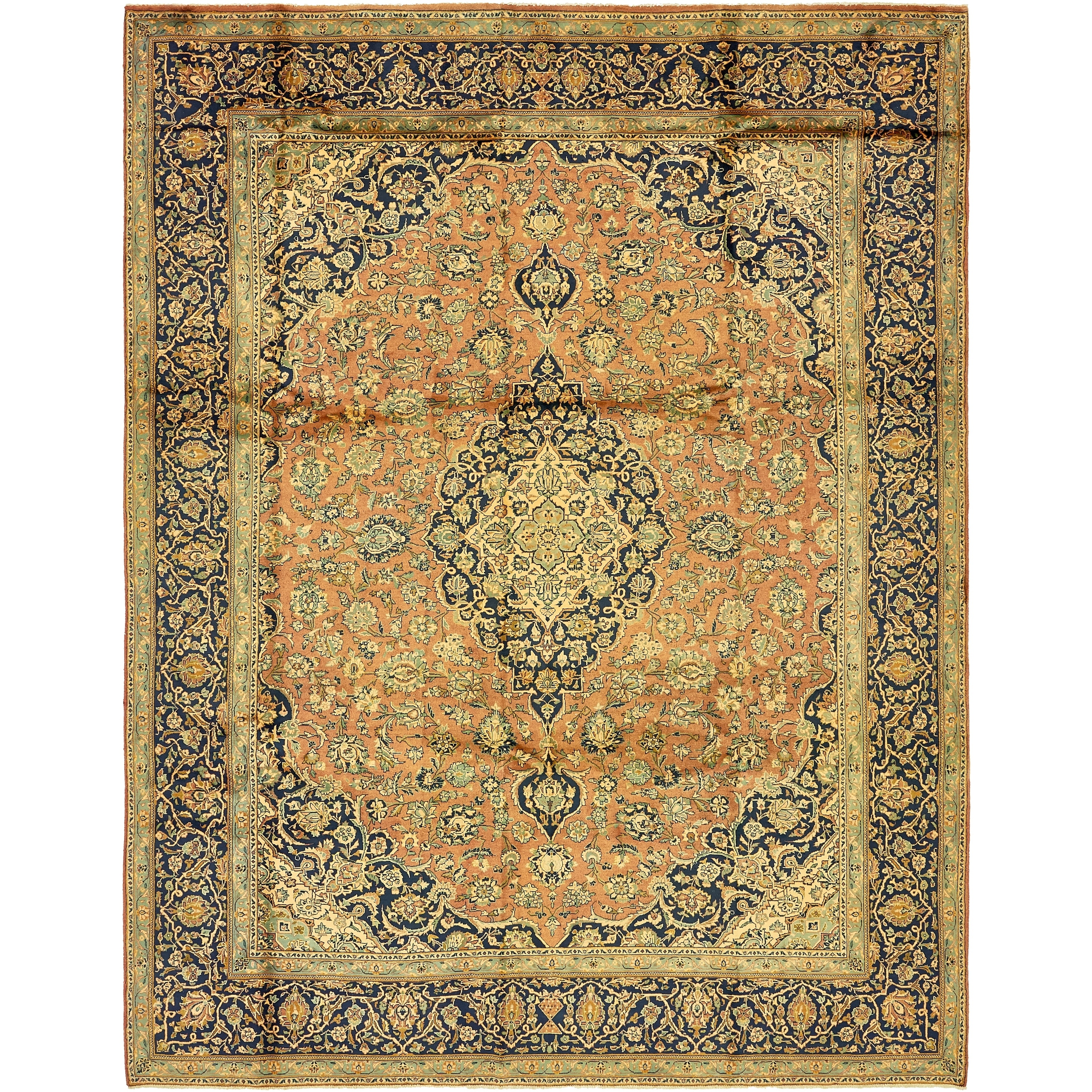 Hand Knotted Kashan Semi Antique Wool Area Rug - 9' 7 x 12' 6 (peach - 9' 7 x 12' 6)