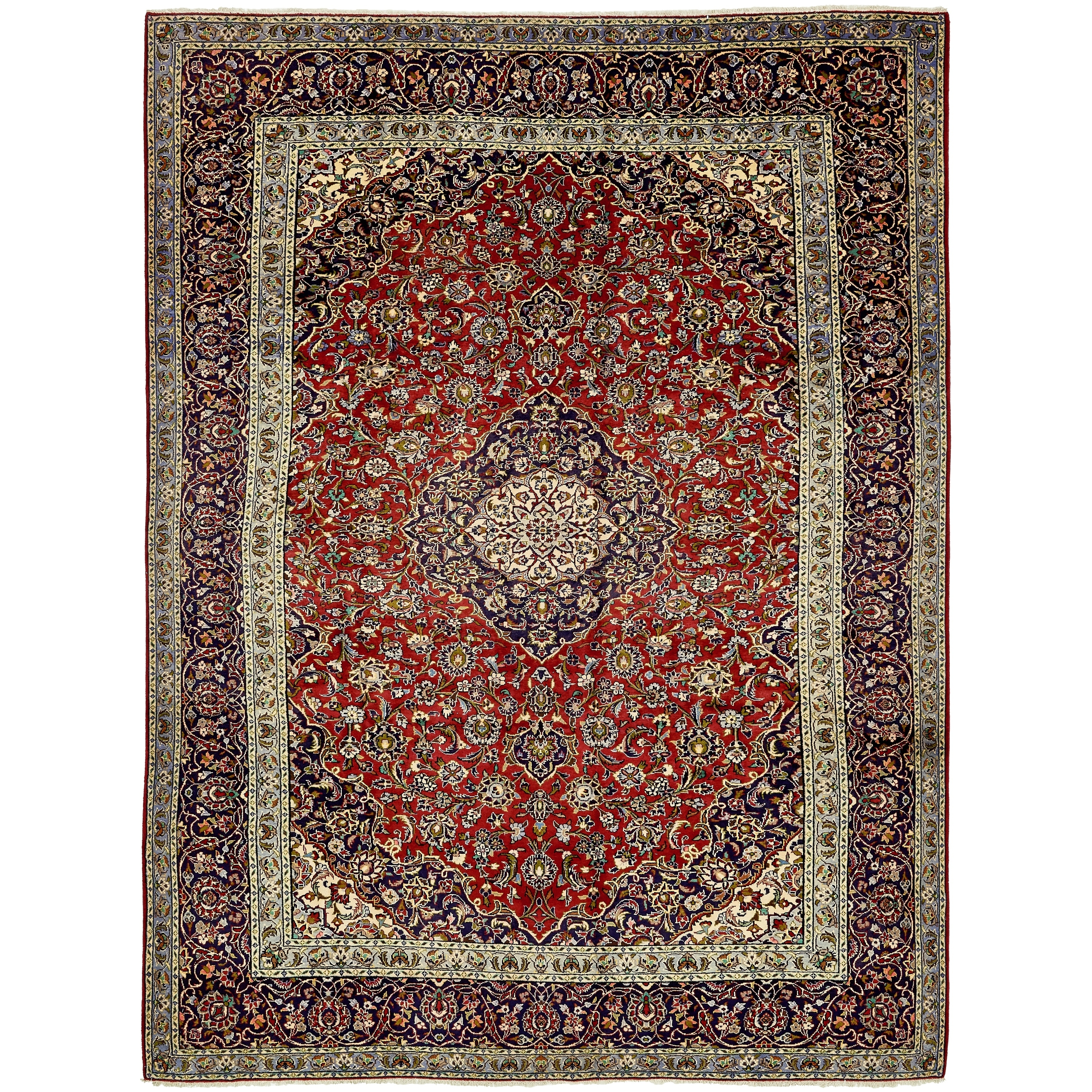 Hand Knotted Kashan Wool Area Rug - 9' 6 x 13' 1 (Red - 9' 6 x 13' 1)