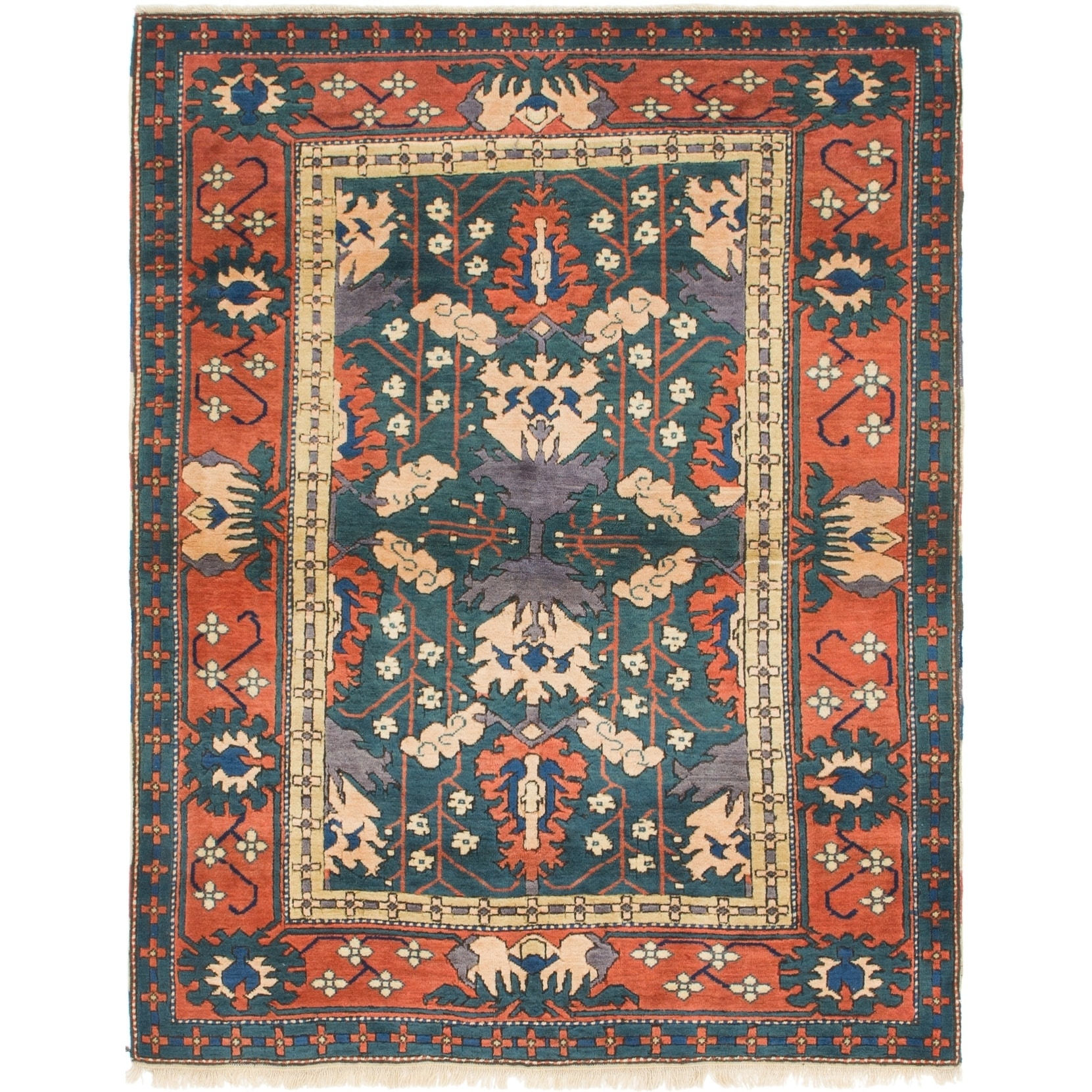 Hand Knotted Kars Wool Area Rug - 4' 9 x 6' 2 (Green - 4' 9 x 6' 2)
