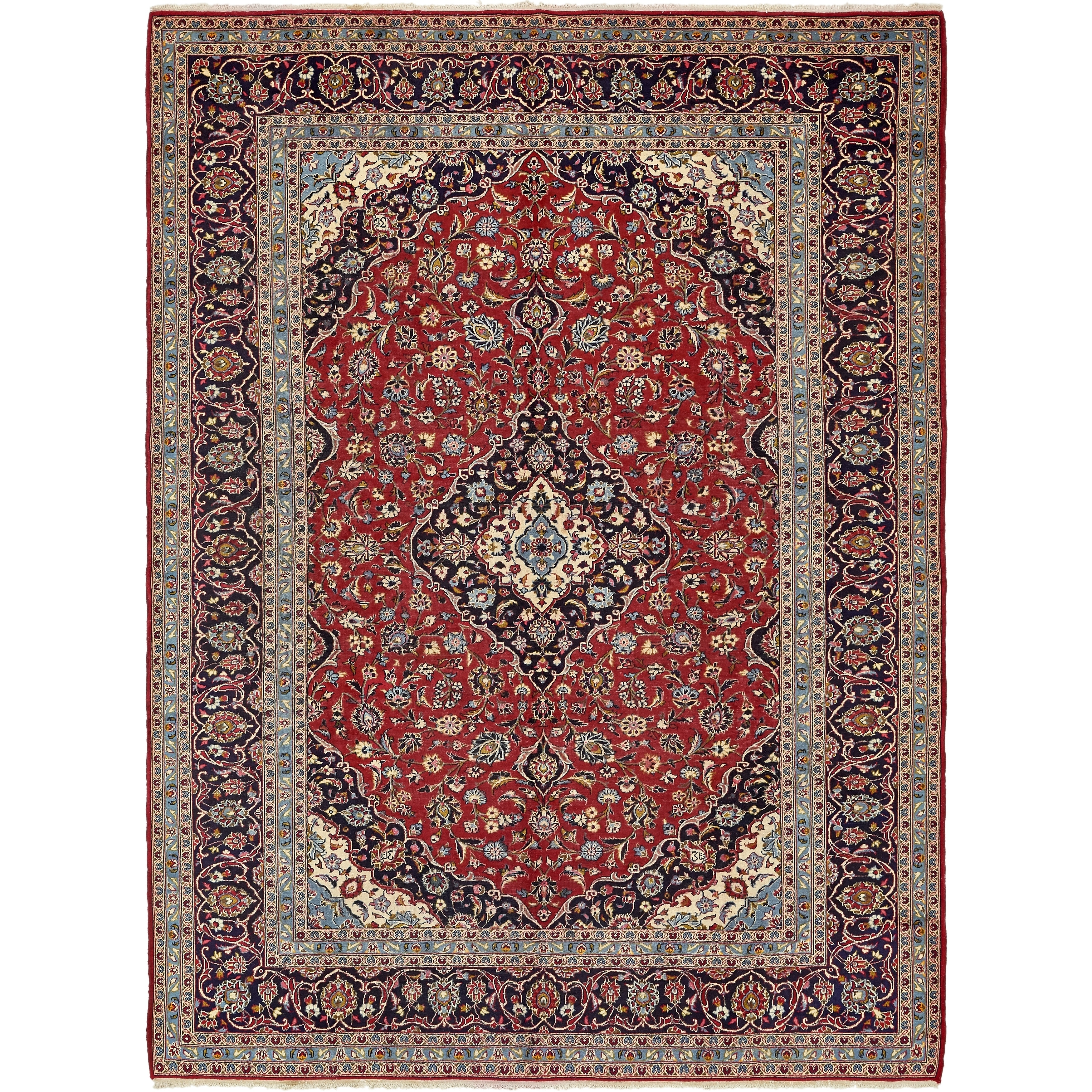 Hand Knotted Kashan Semi Antique Wool Area Rug - 9' 9 x 13' 2 (Red - 9' 9 x 13' 2)