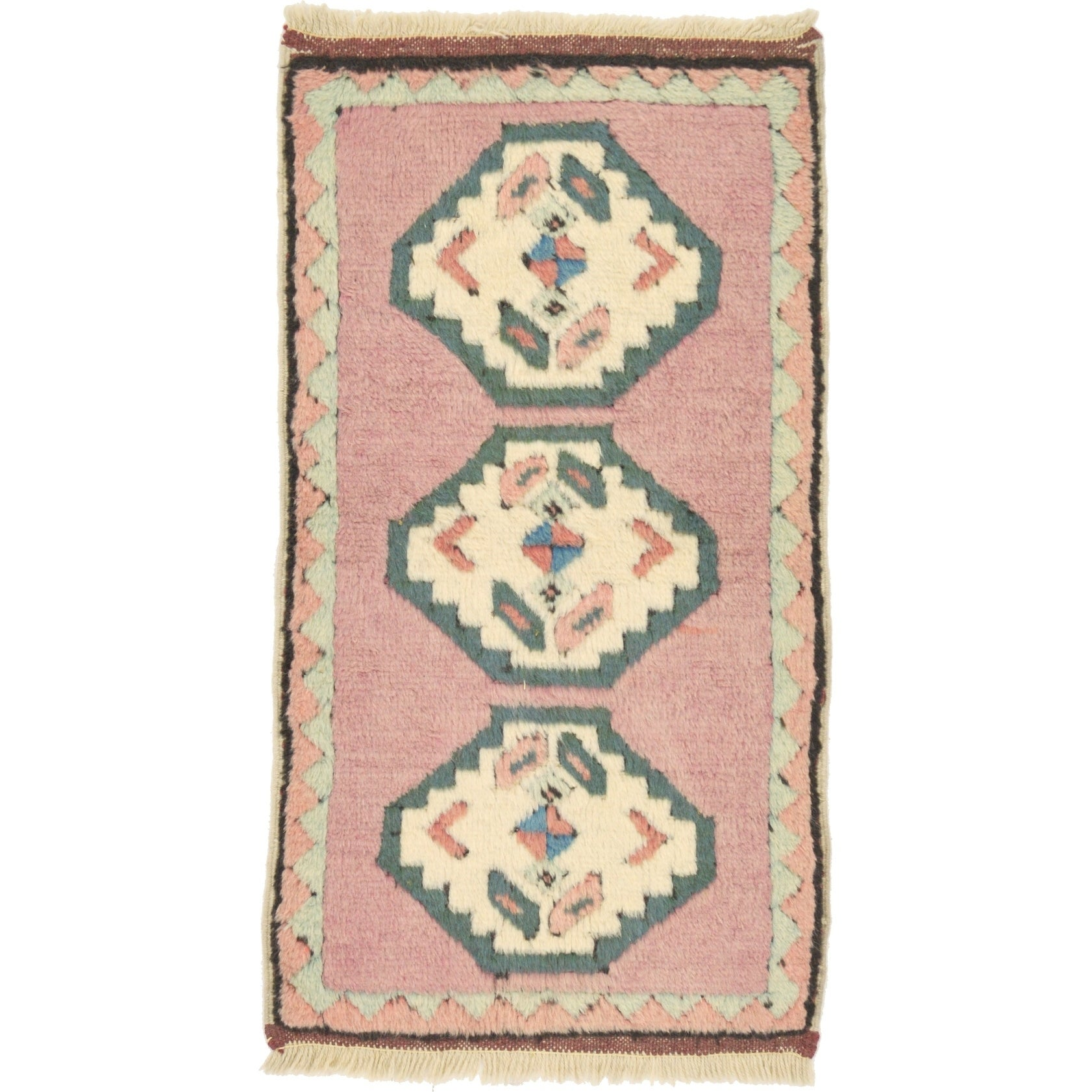 Hand Knotted Kars Wool Area Rug - 1 9 x 3 3 (puce - 1 9 x 3 3)