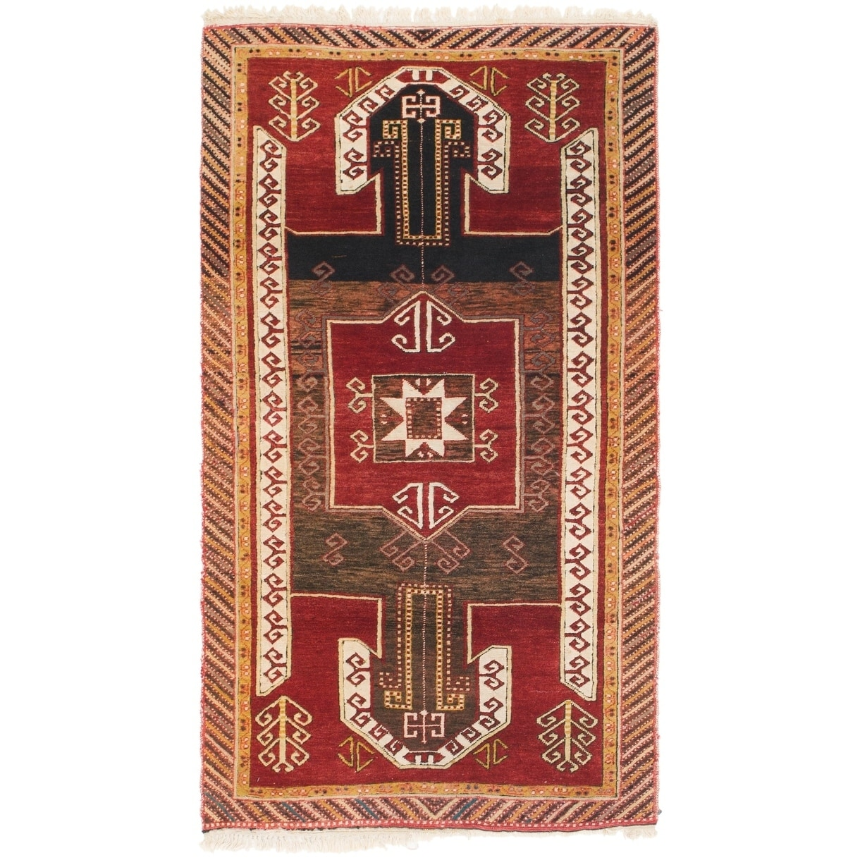 Hand Knotted Kars Antique Wool Area Rug - 3 5 x 6 4 (Red - 3 5 x 6 4)