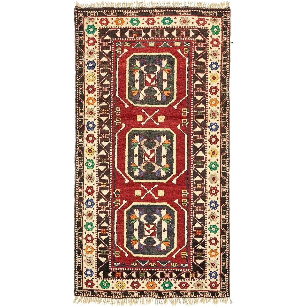 Hand Knotted Kars Wool Area Rug - 3' 3 x 6' 3 (Black - 3' 3 x 6' 3)