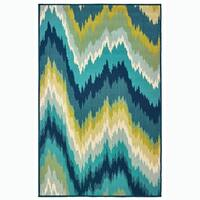 "Pulse Blue/Green Indoor-Outdoor Area Rug - 3'7"" x 5'6"""