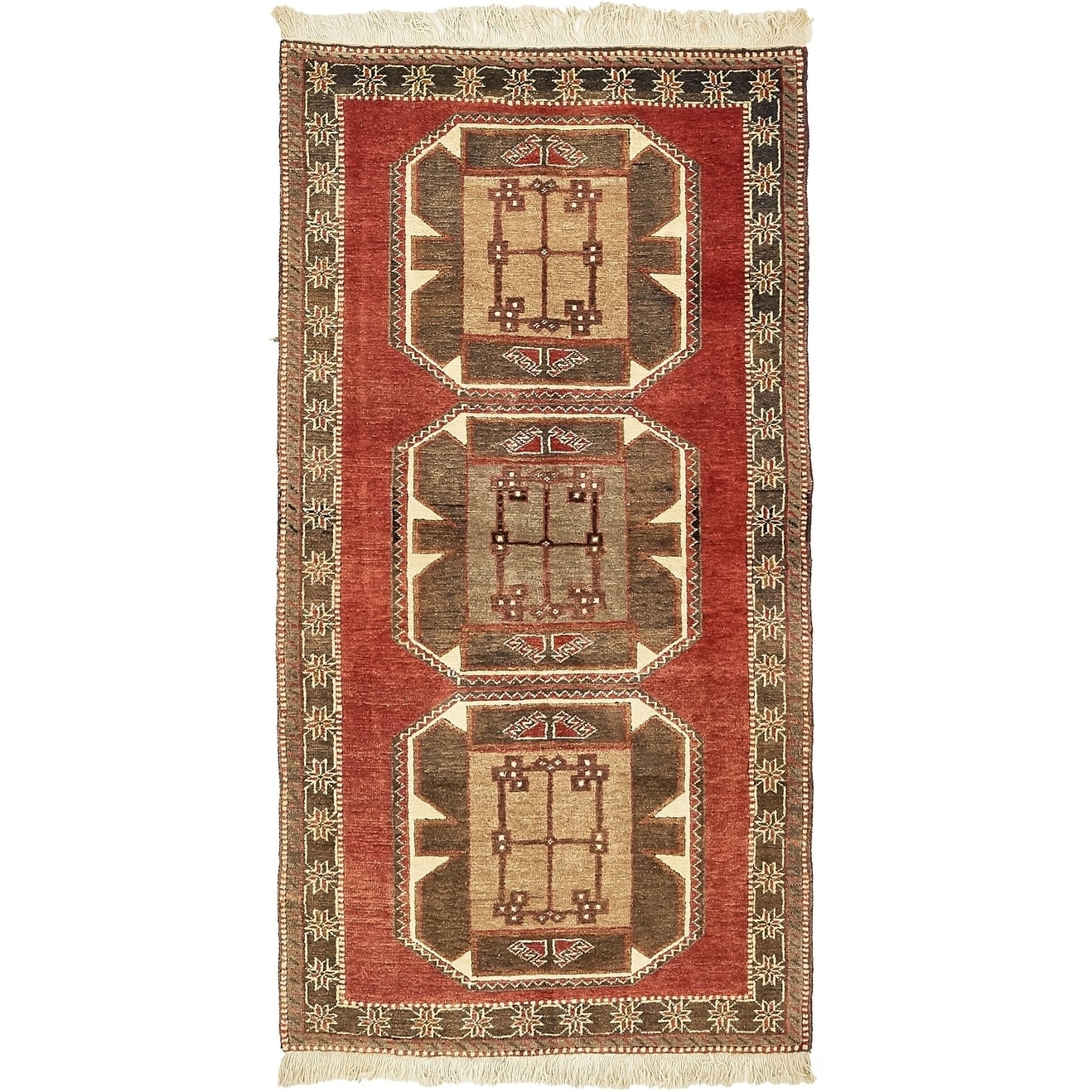 Hand Knotted Kars Wool Area Rug - 3' 3 x 6' 7 (Red - 3' 3 x 6' 7)