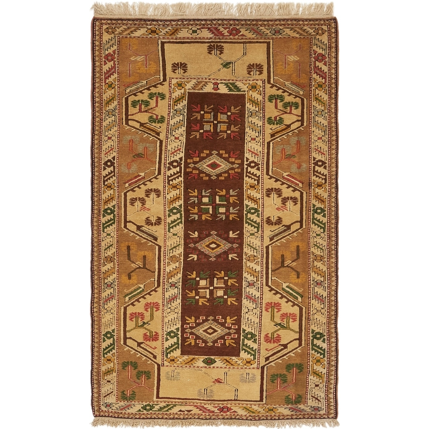 Hand Knotted Kars Semi Antique Wool Area Rug - 3' 7 x 6' (Olive - 3' 7 x 6')