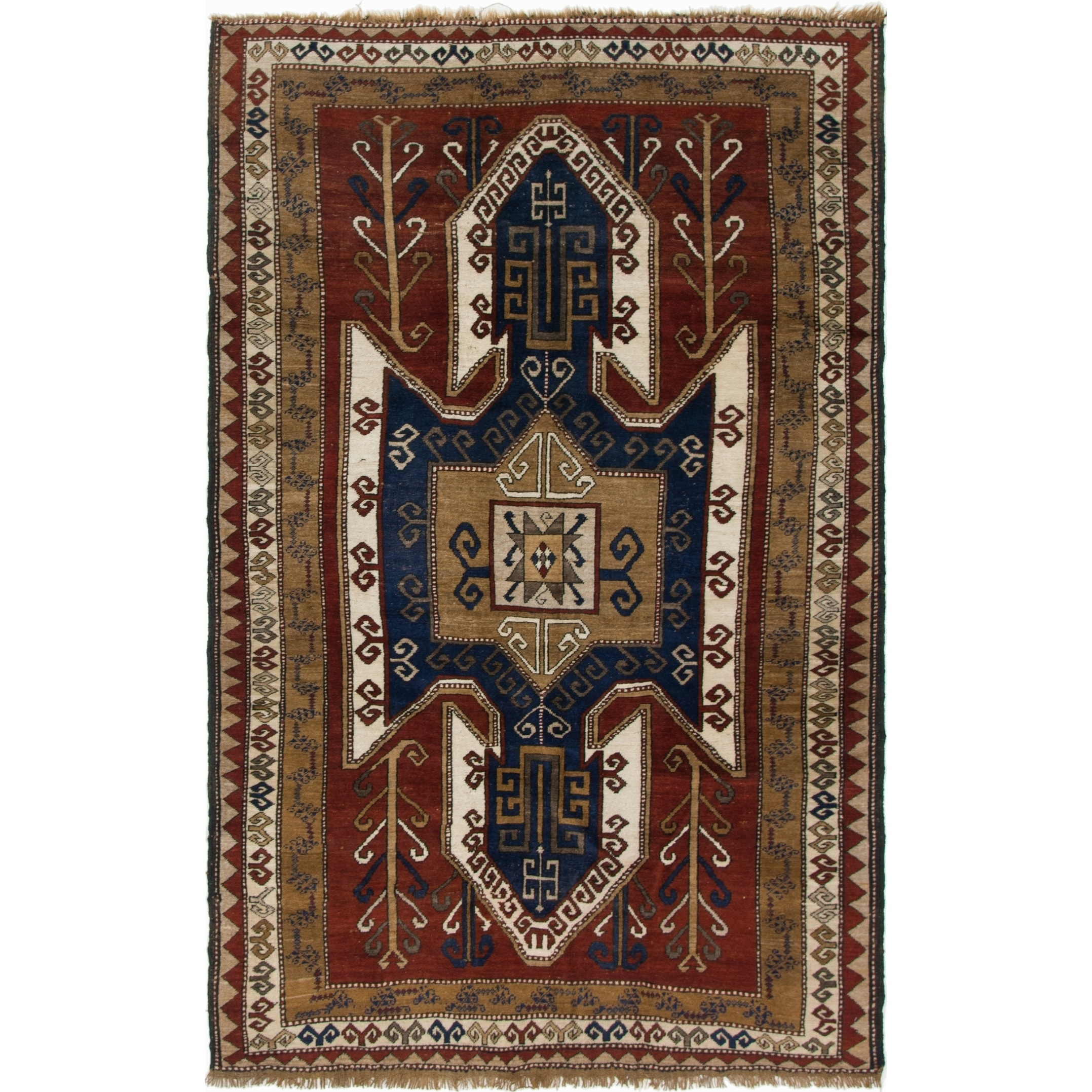 Hand Knotted Kars Semi Antique Wool Area Rug - 5' 1 x 8' 6 (Burgundy - 5' 1 x 8' 6)