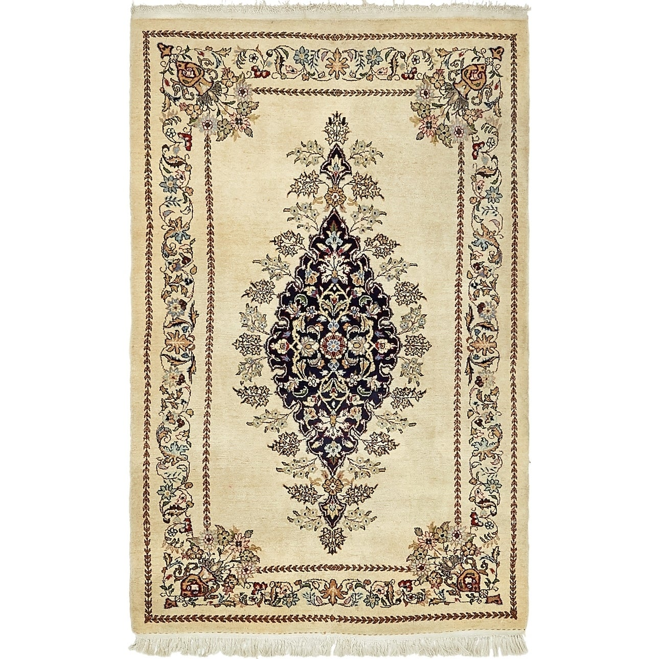 Hand Knotted Kashan Wool Area Rug - 3 4 x 5 5 (Cream - 3 4 x 5 5)