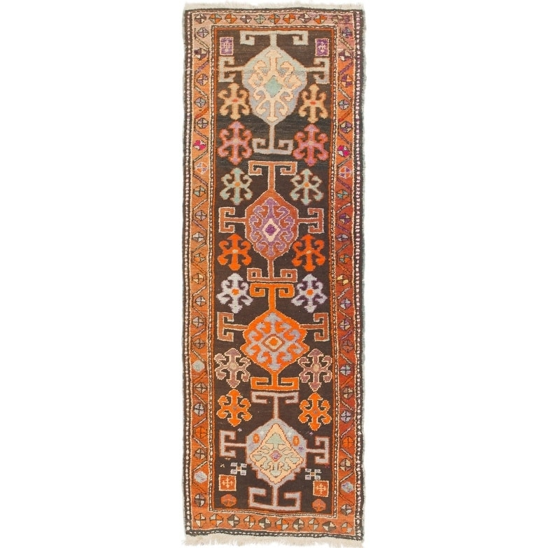 Hand Knotted Kars Semi Antique Wool Runner Rug - 2 4 x 6 9 (Burgundy - 2 4 x 6 9)