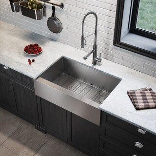 Kraus KHF410-33 Farmhouse Flat Apron 33-in 16G 1-Bowl Satin Stainless Steel Kitchen Sink, Grid, Strainer, Cap, Towel