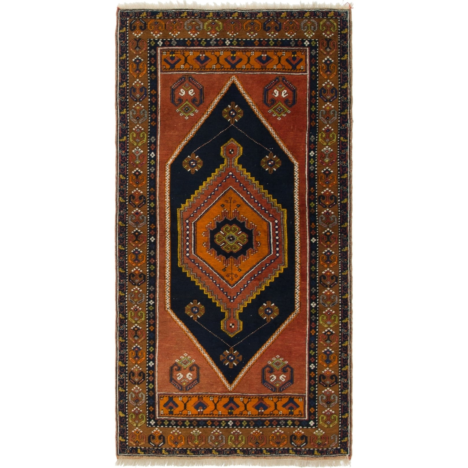 Hand Knotted Kars Semi Antique Wool Area Rug - 4' x 7' 9 (Plum Red - 4' x 7' 9)