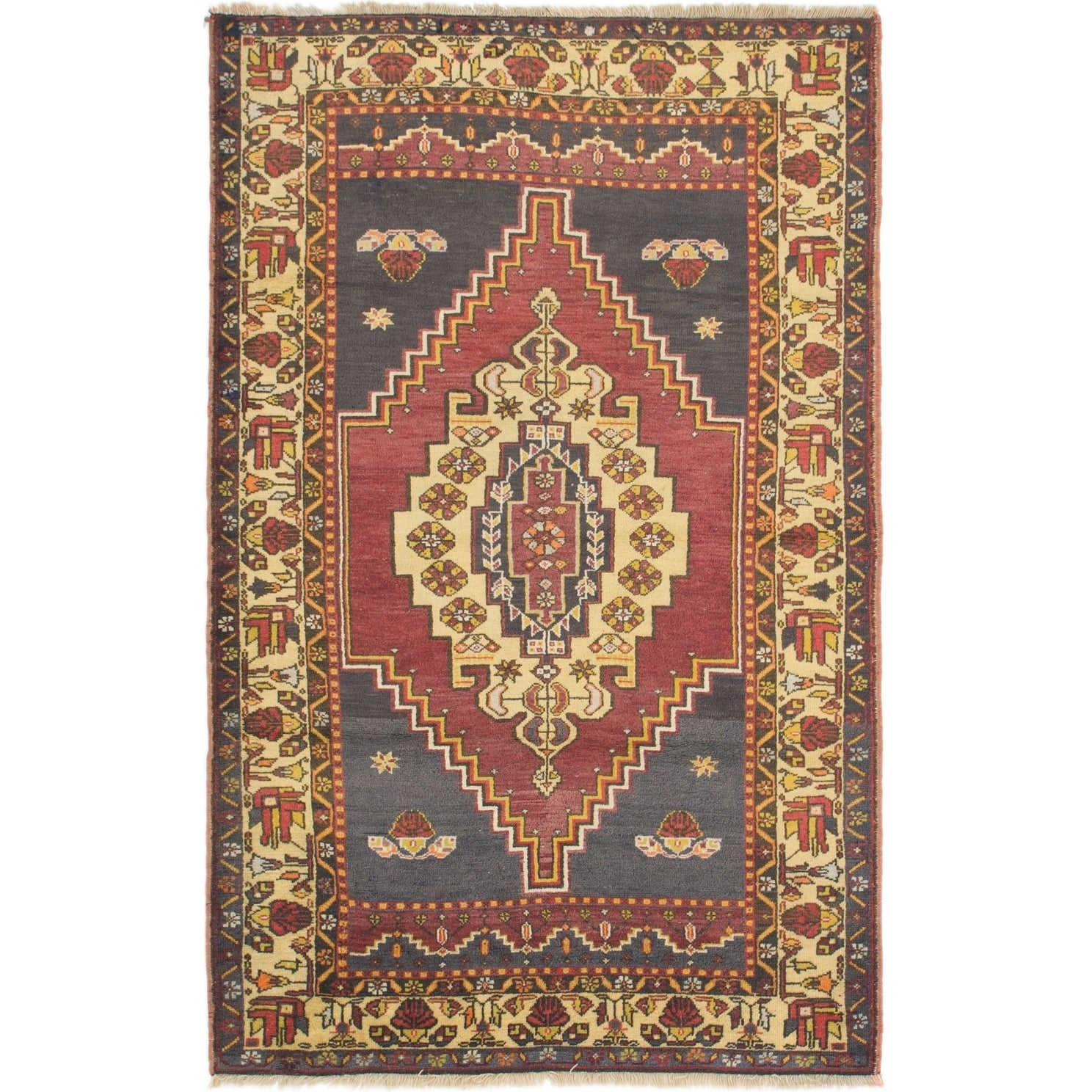 Hand Knotted Kars Antique Wool Area Rug - 4' 4 x 6' 10 (Black - 4' 4 x 6' 10)