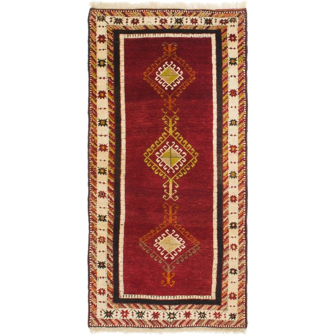 Hand Knotted Kars Wool Area Rug - 3' 3 x 6' 4 (Red - 3' 3 x 6' 4)