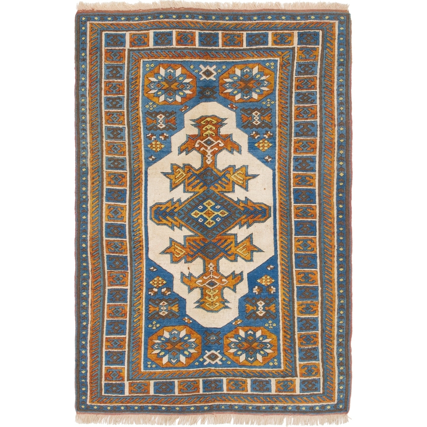 Hand Knotted Kars Semi Antique Wool Area Rug - 4' 2 x 6' 2 (Blue - 4' 2 x 6' 2)