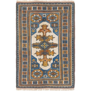 Hand Knotted Kars Semi Antique Wool Area Rug - 4' 2 x 6' 2