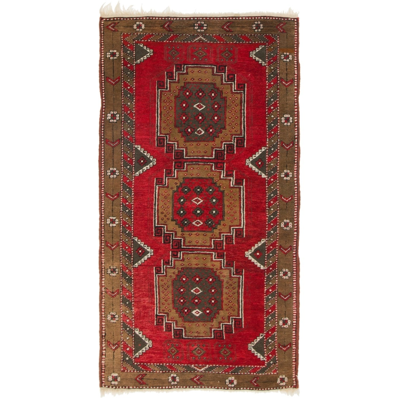 Hand Knotted Kars Semi Antique Wool Area Rug - 3' 3 x 6' 5 (Red - 3' 3 x 6' 5)