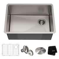 Kraus KHU111-25 Undermount 25-in 16G 1-Bowl Satin Stainless Steel Kitchen Sink, Grid, Strainer, Cap, Towel