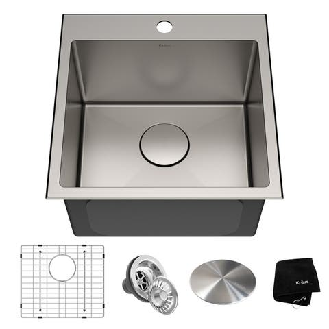 KRAUS KHT301-18 Topmount Drop-In 18 inch Stainless Steel Kitchen Sink