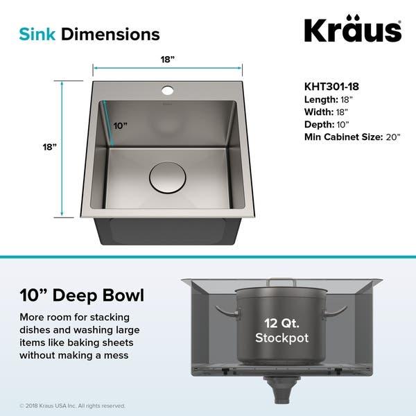 Shop KRAUS KHT301-18 Topmount Drop-In 18 inch Stainless ...