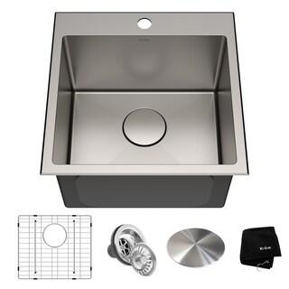 KRAUS KHT301-18 Drop-In 18 in. 1-Bowl Stainless Steel Kitchen Sink