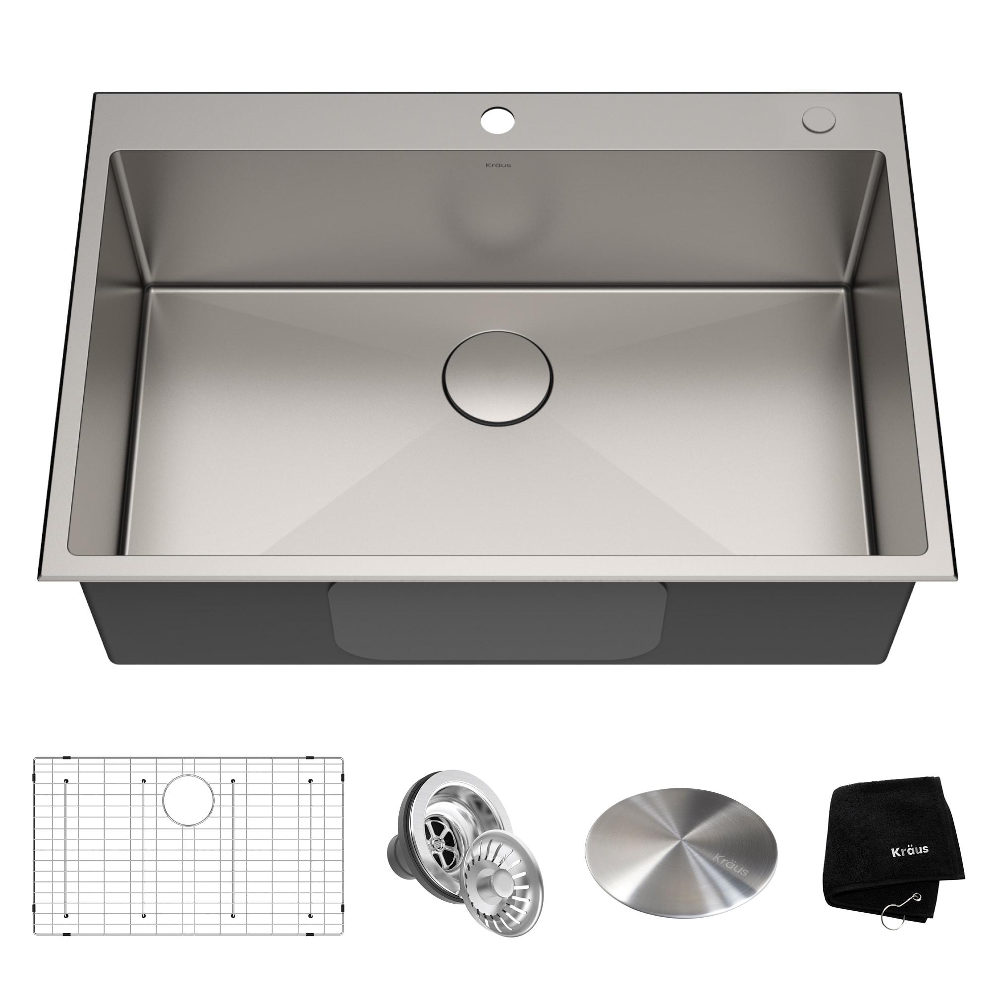 Exceptionnel KRAUS KHT300 33 Drop In Topmount 33 In. 16G 1 Bowl Satin Stainless Steel  Kitchen Sink, 2H, Grid, Strainer, Cap, Towel