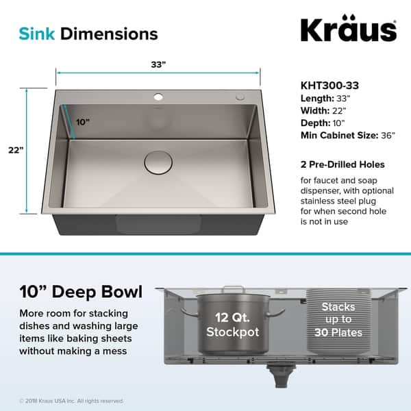 Shop KRAUS KHT300-33 Topmount Drop-In 33 inch Stainless ...