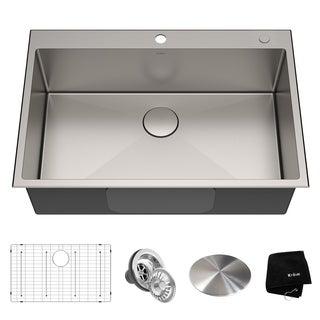KRAUS KHT300-33 Topmount Drop-In 33 inch Stainless Steel Kitchen Sink