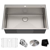 KRAUS KHT300-33 Drop-In Topmount 33 in. 16G 1-Bowl Satin Stainless Steel Kitchen Sink, 2H, Grid, Strainer, Cap, Towel