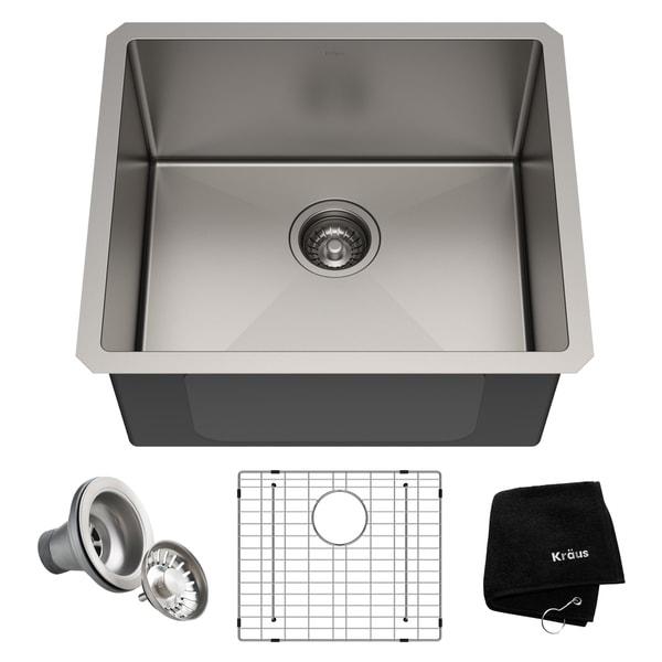 Kraus KHU101-21 Undermount 21-in 16G 1-Bowl Satin Stainless Steel Kitchen Sink, Grid, Strainer, Towel