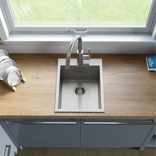 KRAUS KP1TS15S-1 Drop-In 15 in. 1-Bowl R0 Stainless Steel Kitchen Sink
