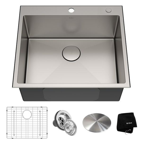 KRAUS KHT301-25 Drop-In Topmount 25 in. 16G 1-Bowl Satin Stainless Steel Kitchen Sink, 1H, Grid, Strainer, Cap, Towel