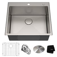 KRAUS KHT301-25 Drop-In Topmount 25 in. 16G 1-Bowl Satin Stainless Steel Kitchen Sink, 1H, Grid, Strainer, Cap, Towel