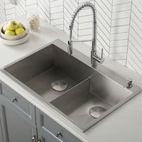 Kraus KP1TD33S-2 Pax R0 Drop-In Topmount 33in 50/50 2-Bowl Stainless Steel Kitchen Sink,Grids,Strainers,Caps,Mitt,Trivet
