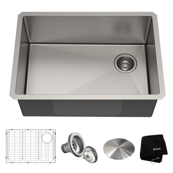 Kraus KHU110-27 Undermount 27-in 16G 1-Bowl Satin Stainless Steel Kitchen Sink, Grid, Strainer, Cap, Towel