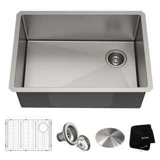 Kraus KHU110-27 Undermount 27-in 16G 1-Bowl Satin Stainless Steel Kitchen Sink, Grid, Strainer, Cap, Towel