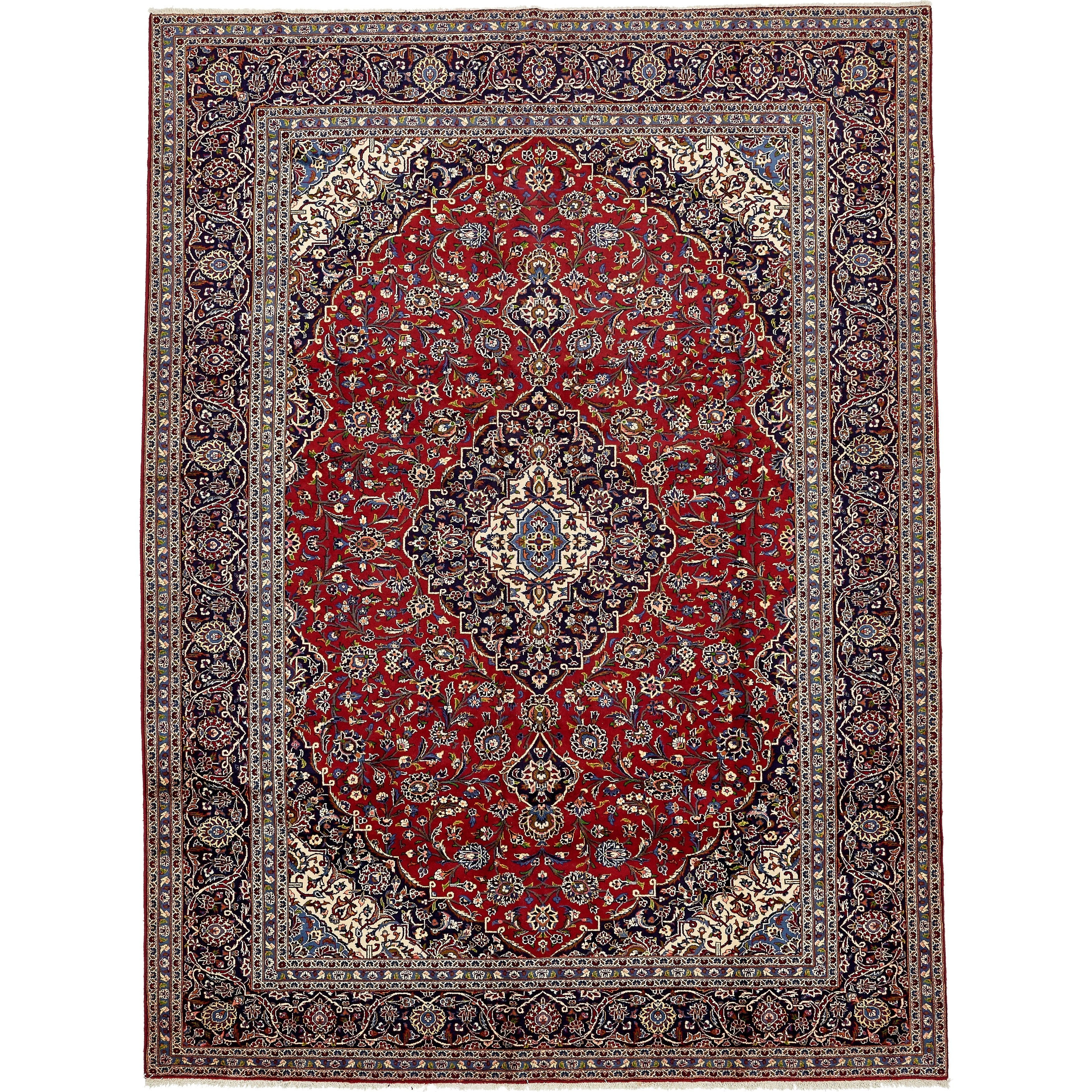 Hand Knotted Kashan Wool Area Rug - 9' 8 x 13' (Red - 9' 8 x 13')