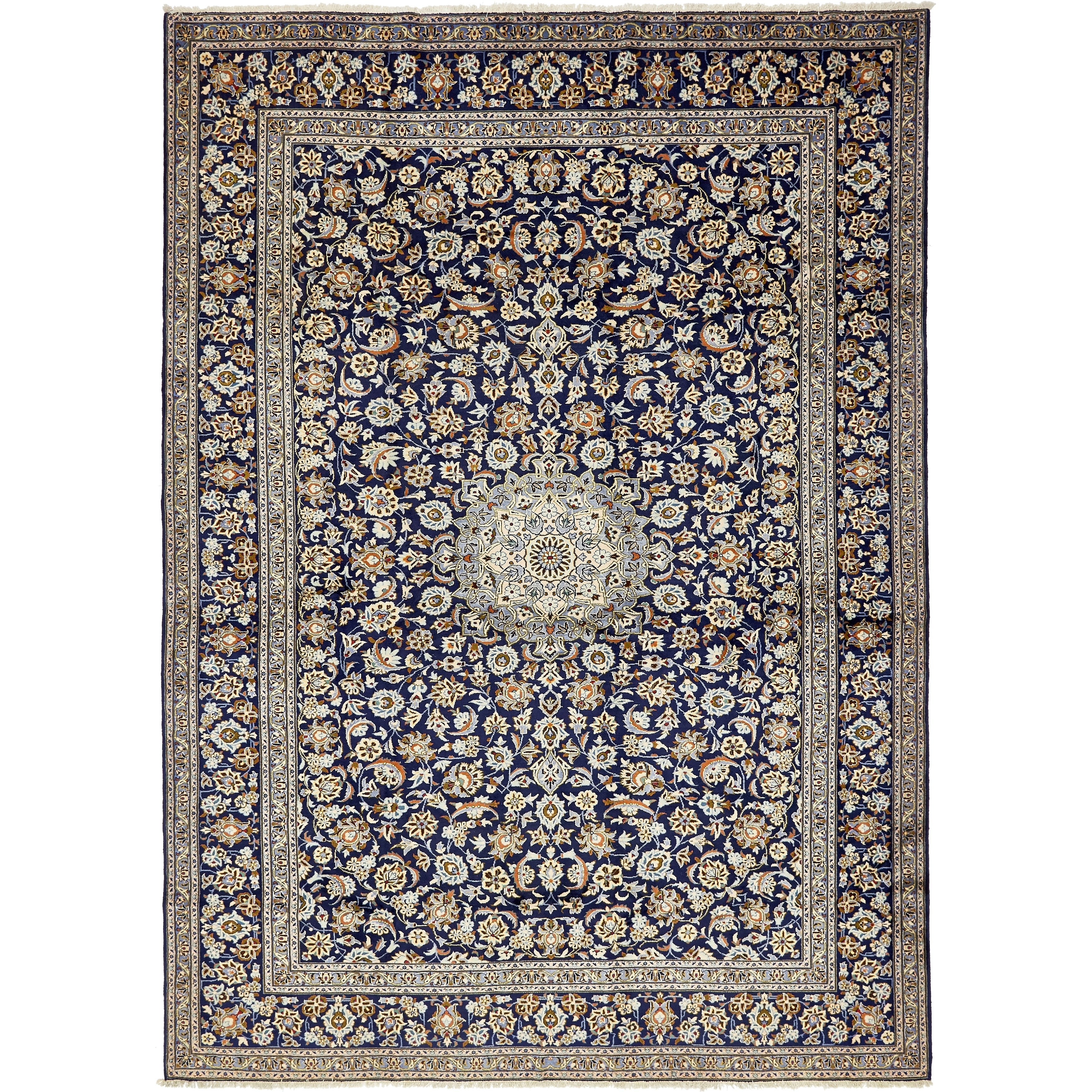 Hand Knotted Kashan Wool Area Rug - 10' 1 x 14' (Navy blue - 10' 1 x 14')