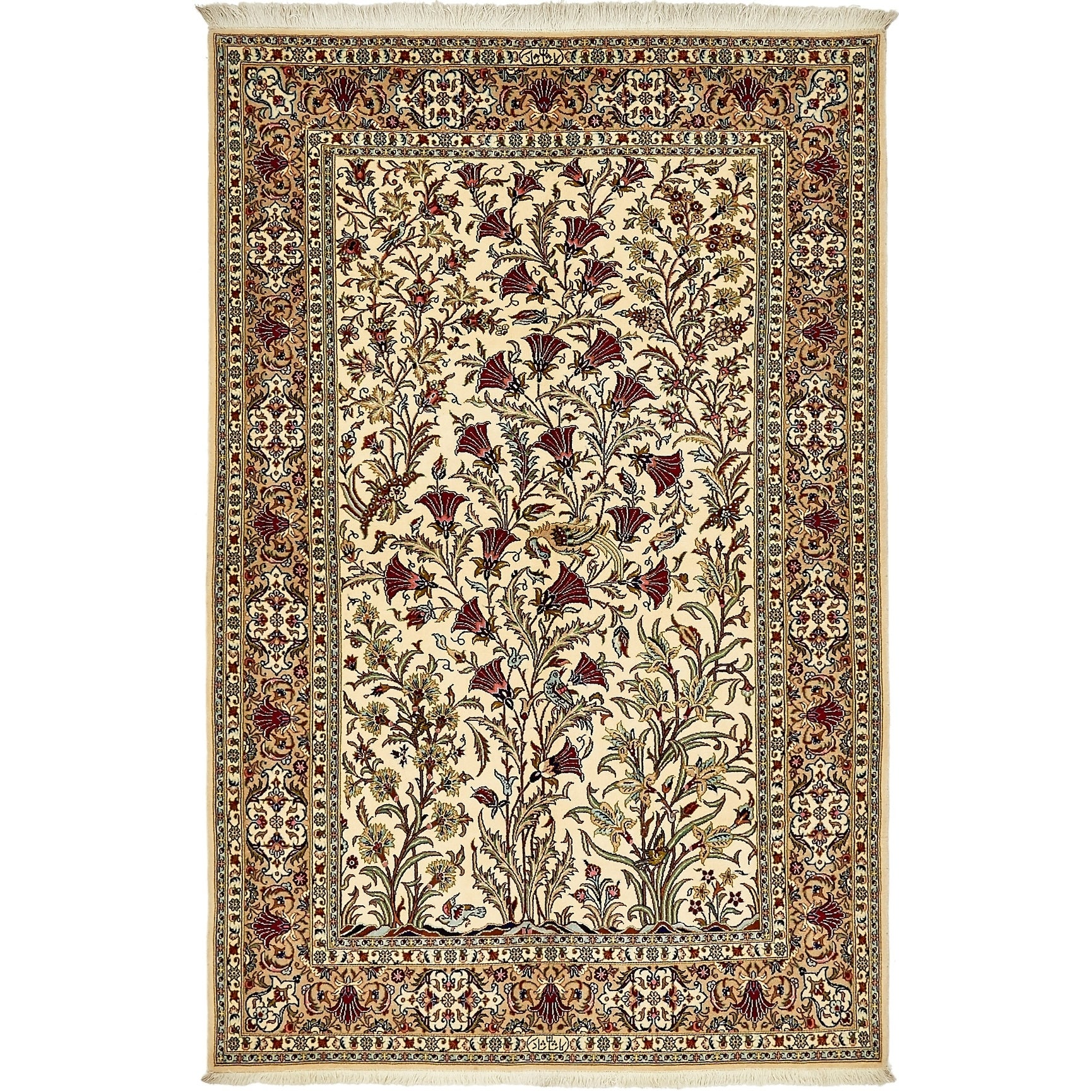 Hand Knotted Kashan Silk & Wool Area Rug - 4 9 x 7 2 (Cream - 4 9 x 7 2)