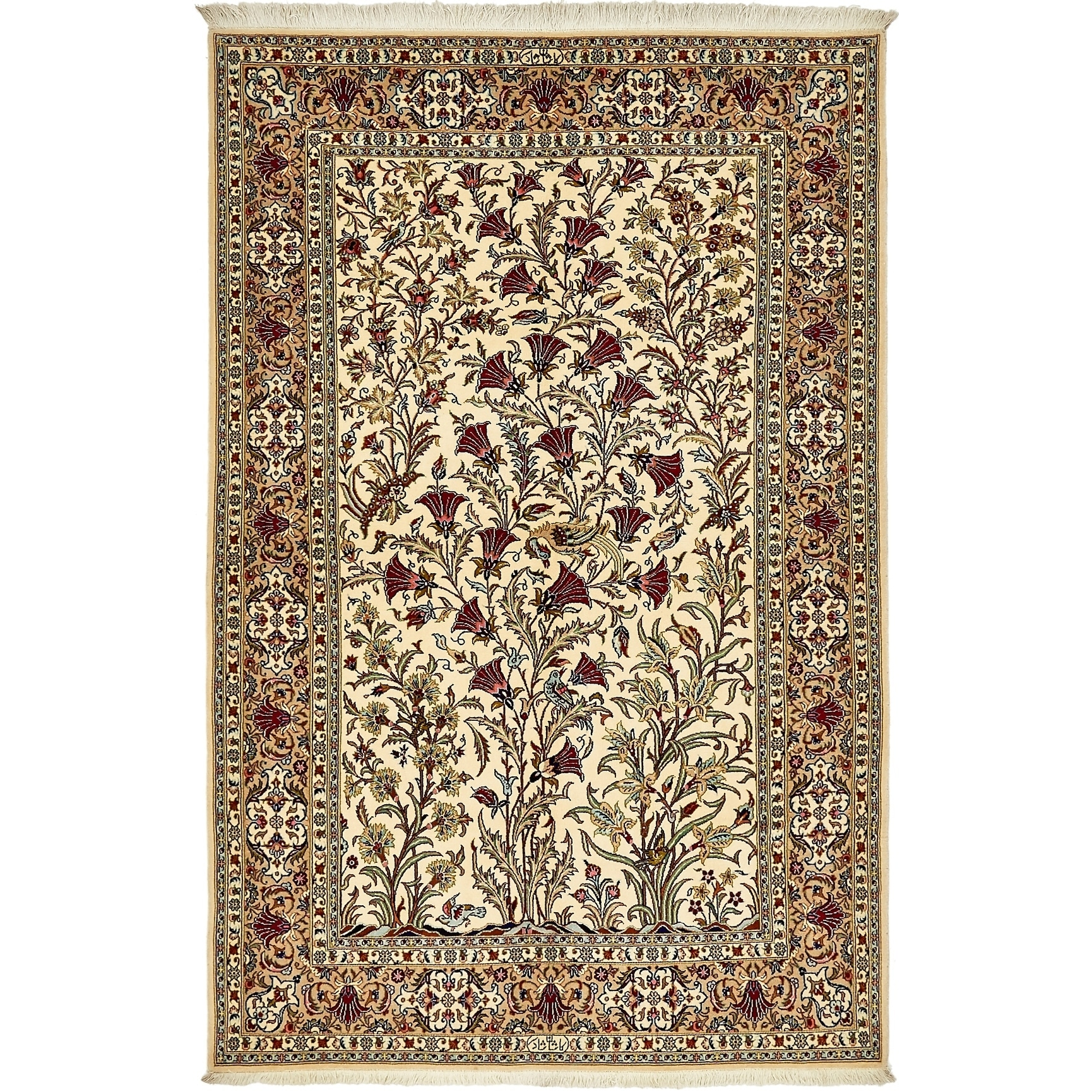 Hand Knotted Kashan Silk & Wool Area Rug - 4' 9 x 7' 2 (Cream - 4' 9 x 7' 2)