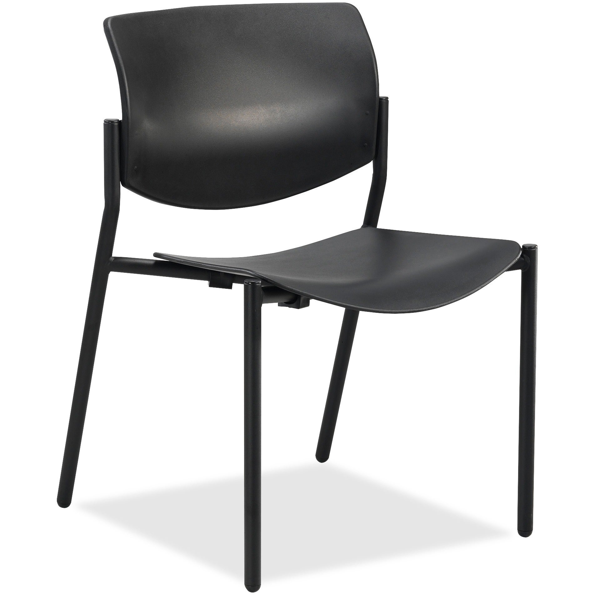 Details About Lorell Black Plastic Steel Fabric Stacking Chairs Set Of 2 Blue