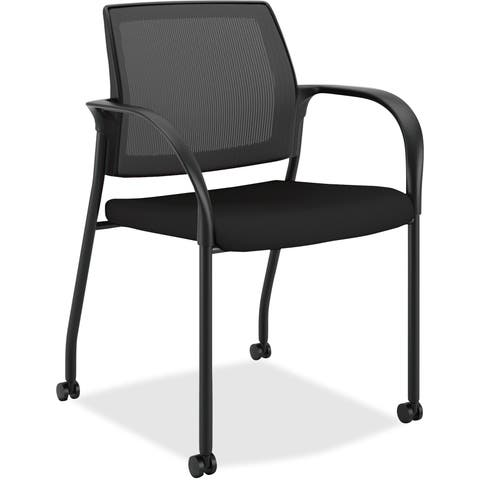 Lorell Black Molded Plastic/Steel Stacking Chair