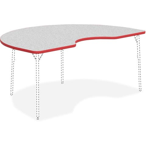 "Lorell Activity Tabletop -Activity Tabletop, Kidney, 48""x72"", Gray/Red"