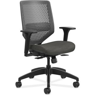 Lorell Black Mesh Back Chair with Air Grid Fabric Seat