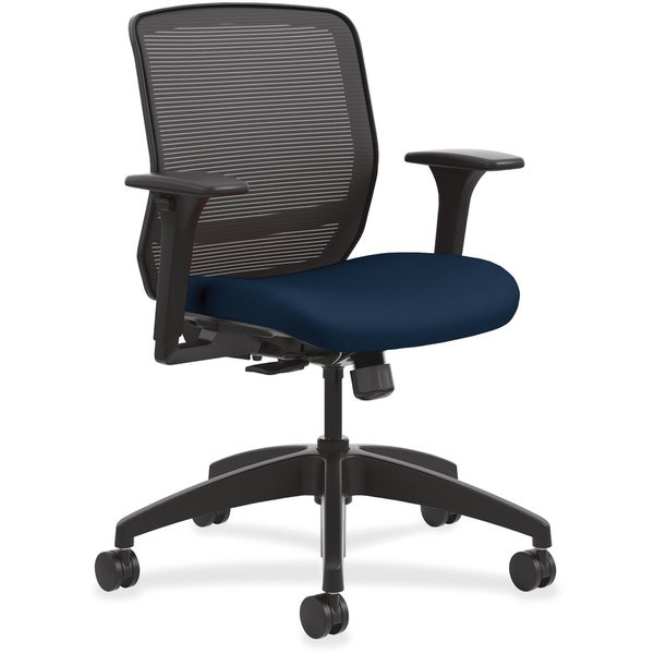 Lorell High Back Black Mesh Chair With Fabric Seat
